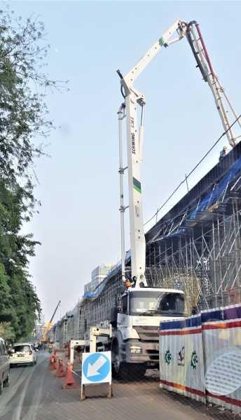 Concrete Pump Schwing Stetter yanjg digunakan dalam pembangunan jalan tol Kali Malang, Bekasi, Jawa Barat